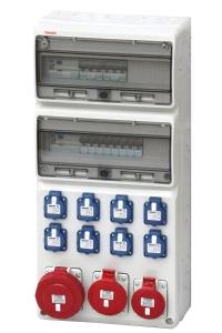 Wandverteiler Kraftstromverteiler mit 8x Schuko Steckdosen und je 1x CEE 16A/32A/63A und Hager Bestückung