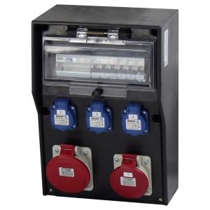 Wandverteiler Stromverteiler IP65 mit 3x Schuko Steckdose je 1x CEE 16/32A und Hager FI/C16 Bestückung
