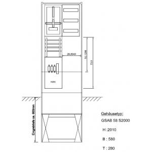 Zähleranschlußsäule eon Bayern 1Zähler ohne TSG mit Ausbaumöglichkeit inkl.HAK Pro Zählerplatzsystem 02.00.1P11AV3HAK