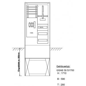 Zähleranschlußsäule eon Bayern 1Zähler ohne TSG mit Verteiler 3x12TE, inkl.HAK 02.00.1P11bV3HAK