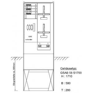 Zähleranschlusssäule (2Zähler/ohne TSG) NH00-Vorsich., Pro Zählerplatzsystem 03.00.1P21