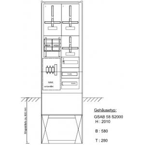 Zähleranschlusssäule (2Zähler/TSG) nach TAB 2008 03.00.1P2HSA