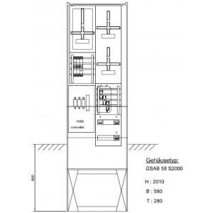 Zähleranschlusssäule EnviaM (3Zähler/ohne TSG) NH00 Vorsicherung 03.00.1P31