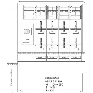 Zähleranschlußsäule (8 Zähler ohne TSG) nach TAB E.ON e.dis AG 08.00.1P81