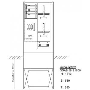Zähleranschlußsäule (2Zähler ohne TSG) NH00 Vorsicherung 09.00.1P21