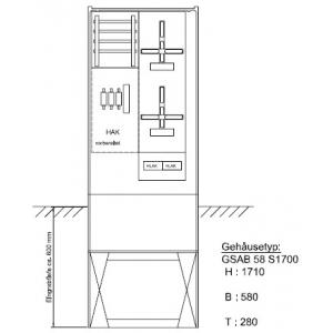 Zähleranschlußsäule (2Zähler ohne TSG) TAB 2008 09.00.1P21HSA