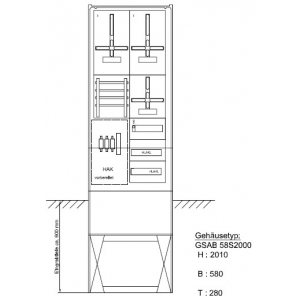 Zähleranschlußsäule (2Zähler / TSG) 09.00.1P2HSA