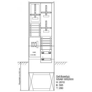 Zähleranschlusssäule (3Zähler/ohne TSG) NH00 Zählervorsicherung 09.00.1P31