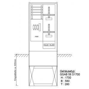 Zähleranschlusssäule (2Zähler/ohne TSG) nach TAB 2008 11.00.1P21HSA