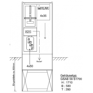 Zähleranschlußsäule e.on Mitte (1Zähler ohne TSG)-Abgang Hauptschalter 80A mit Klemmen 5x35mm NH 12.00.1P11bS
