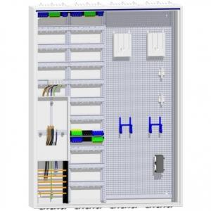 Zählerschrank 1 Zähler Verteiler 4 reihig + Verteiler 9 reihig + 2xMM 1400 mm