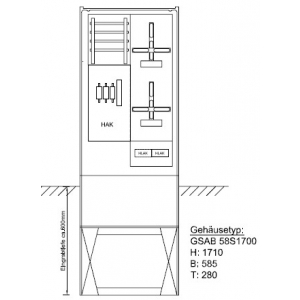 Zähleranschlusssäule (2Zähler/ohne TSG) Pro Zählerplatzsystem 22.00.1P21