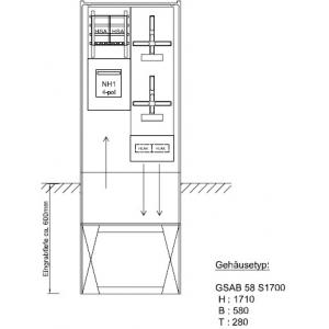Zähleranschlusssäule RWE (2Zähler/ohne TSG) modifiziert mit Trenner NH1/4pol. 22.00.1P21EE-Tr.1-4