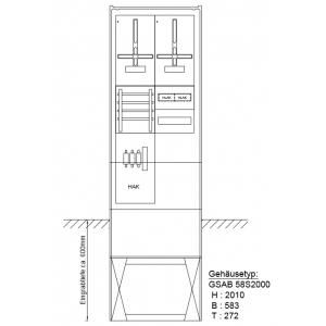 Zähleranschlußsäule RWE und TAB-gleiche 2Zähler mit Verteiler 2x12TE 22.00.1P21V2