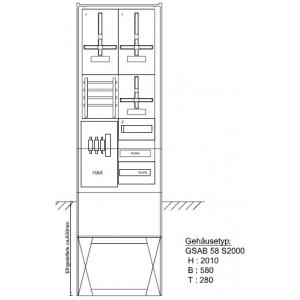 Zähleranschlußsäule RWE (2Zähler / TSG) 22.00.1P2
