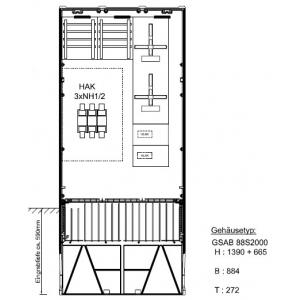 Zähleranschlußsäule 2 ZP ohne TSG für Einspeisung 150mm², HAK Gr.2 22.88.1P21HAK2