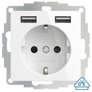2USB Kombi-Steckdose mit 2x USB und erhöhtem Berührungsschutz reinweiss glänzend