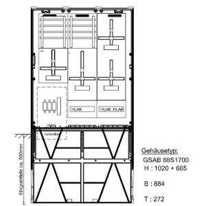 Zähleranschlusssäule (3Zähler / TSG) 39.88.1P3TN