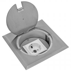 Boden-Einbau-Steckdose, eckig, Edelstahl, IP20, 1 Schutzkontakt-Steckdose