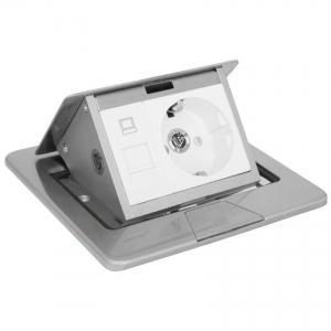 Boden-Einbau-Steckdose, Klappdeckel, Edelstahl, IP20, 1 Schutzkontakt- und 1 ISDN-Steckdose