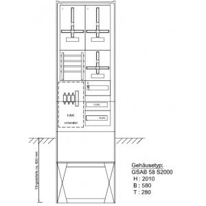 Zähleranschlußsäule (2 Zähler / TSG) Pro Zählerplatzsystem 42.00.1P2
