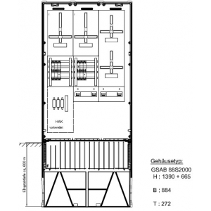 Zähleranschlusssäule (4Zähler/TSG) nach TAB SÜWAG mit Zählersteckklemme 43.88.1P41