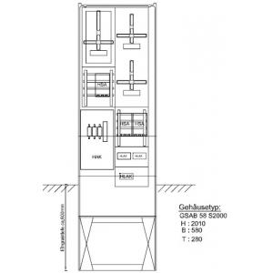 Zähleranschlußsäule HSE/HEAG 3Zähler ohne TSG f. SLS ; mit HAK; mit Zählersteckklemme 48.00.1P31HSA
