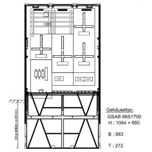 Zähleranschlusssäule (3Zähler/TSG) nach TAB Mainova mit Zählersteckklemme für SLS 49.88.1P3HSA