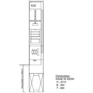 Zähleranschlußsäule Pfalzwerke 1 Zähler ohne TSG 52.00.1P11