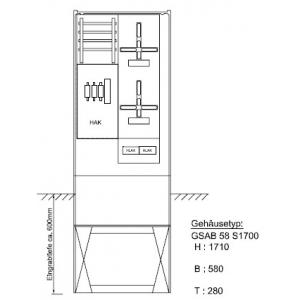 Zähleranschlußsäule Pfalzwerke 2 Zähler ohne TSG 52.00.1P21