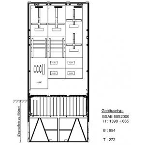 Zähleranschlußsäule Pfalzwerke 4 Zähler ohne TSG 52.88.1P41