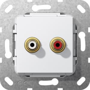 Gira Cinch Audio Loetanschluss 563203 Einsatz reinweiss glänzend