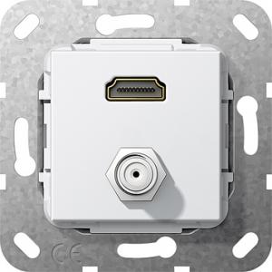 Einsatz HDMI 2.0a + HDR SAT-F-Buchse Kup rw
