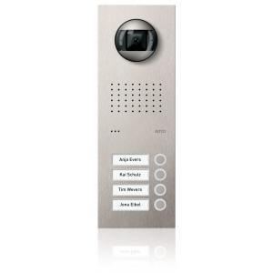 Komplettset Acero pur Edelstahl-Türstation mit Video-Hausstation für 4 Teilnehmer