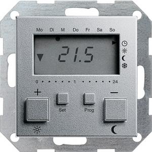 Gira Raumtemperaturregler 237026 230V mit Uhr alu System 55