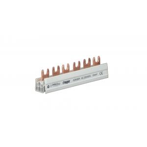 Hager Phasenschiene KDN363M 3-polig mit Gabelanschluss 10mm² 63A 6 Module
