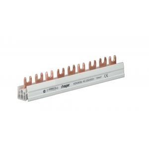 Hager Phasenschiene KDN363N 3-polig mit Gabelanschluss 10mm² 63A 9 Module