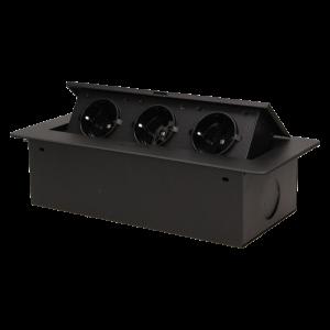 Orno versenkbare Einbau-Tischsteckdose mit flacher Fräskante schwarz