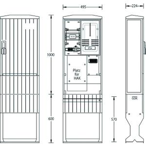 Zähleranschlusssäule Zählersäule ZAS-1-FL-S Flachschrank