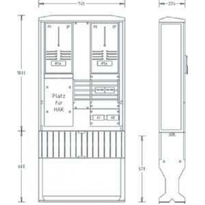 Zähleranschlusssäule ZAS-2-FL Flachschrank