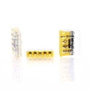 Wago Dosenklemme 2273-205 5Leiter 5x0,5-2,5 qmm gelb 100 Stück