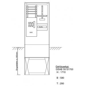Zähleranschlußsäule LEW (1Zähler ohne TSG) - mit Ausbaumöglichkeit Pro Zählerplatzsystem 33.00.1P11b