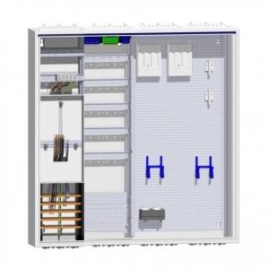 Komplettschrank  1 Zähler Verteiler 5-reihig mit APZ und doppeltem Multimedia