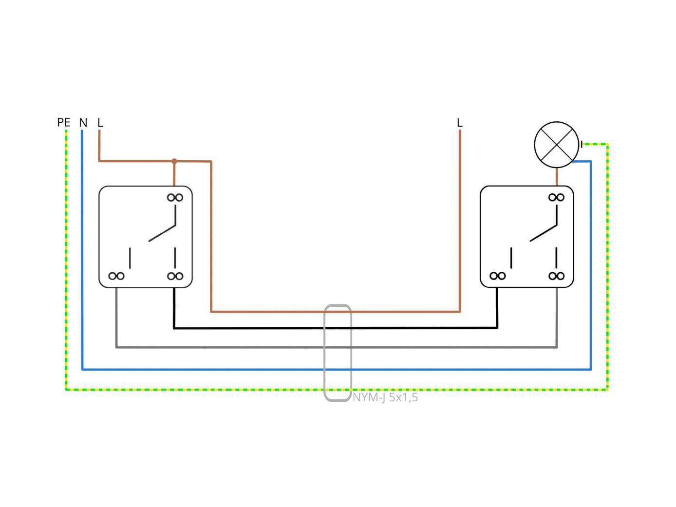 wechselschaltung mit drei adern wiring diagram. Black Bedroom Furniture Sets. Home Design Ideas